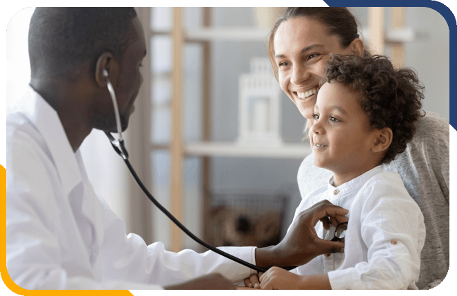 Doctor giving family a health checkup
